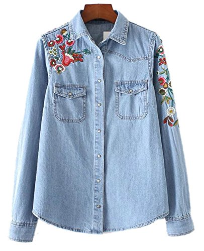 Women's Classic Floral Embroidered Loose Slim Long Sleeve Denim Blue Jean Shirt