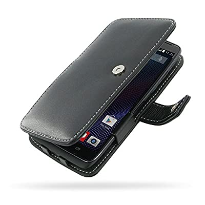Motorola DROID Turbo XT1254 Leather Case / Cover Protective Phone Case (Handmade Genuine Leather) - Book Case (Black) by Pdair by Pdair