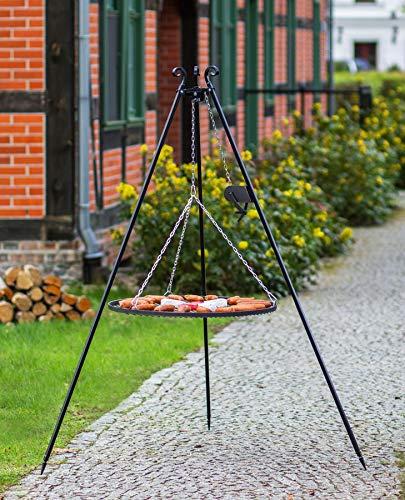 Dreibein Schwenkgrill H 180 cm Kurbel und Stahl Grillrost Ø 60 cm