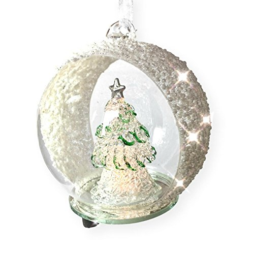 BANBERRY DESIGNS LED Glass Globe Christmas Ornament Hand Painted Glitter Snowflakes and Tree Color Changing -