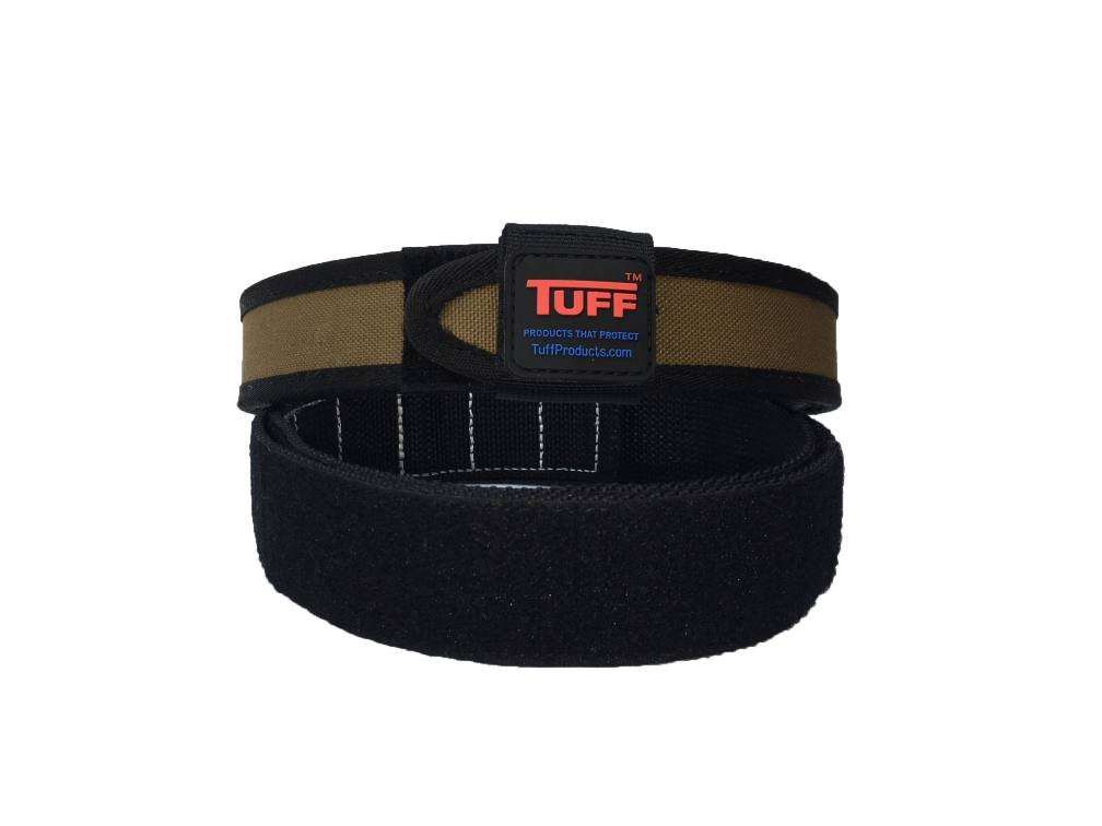 Quik2U TUFF SureFit Competition Belt Set Inner and Outer Belt with Keeper (Coyote Tan/Black, Medium 34-40) by Quik2U