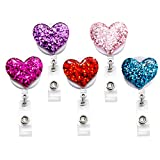 Qinsuee Bling Popular Love Heart Retractable Badge Holder, ID Badge Reel with Alligator Swivel Clip, 5 Pack
