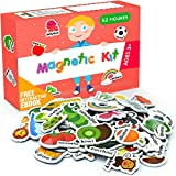 Foam Magnets for Toddlers - Refrigerator Magnets for Kids - Baby Magnets for Refrigerator and Whiteboard with Zoo and Farm Animals - Educational Magnetic Toys for Preschool Learning Activities