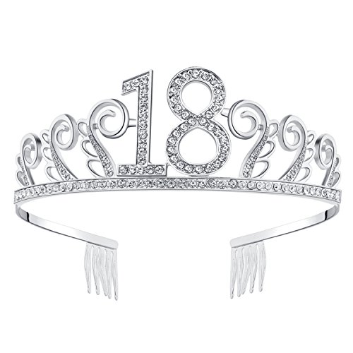 BABEYOND Crystal Birthday Tiara Rhinestone Princess Crown Happy Birthday Crowns Silver Diamante Happy 18th Birthday Tiara Crown (Silver-18th)