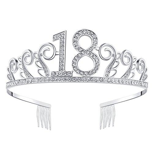 BABEYOND Crystal Birthday Tiara Rhinestone Princess Crown Happy Birthday Crowns Silver Diamante Happy 18th Birthday Tiara Crown (Silver-18th)]()