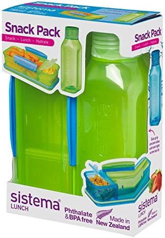 Online Kitchenware Sistema Snack Pack, Fiambrera y Botella de Agua, Color Verde Lima: Amazon.es: Hogar
