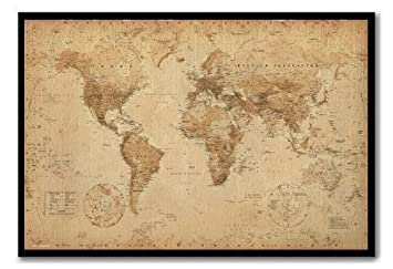 World map poster ye old parchment cork pin memo board black framed world map poster ye old parchment cork pin memo board black framed 965 x 66 gumiabroncs Gallery