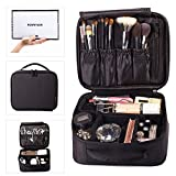 ROWNYEON Makeup Train Case Makeup Bag Organizer Travel Makeup Case Cosmetic Bag Proffessional Portable Storage Bag for Cosmetics Makeup Brushes Gift for Girls Women 9.8'' Mini Black