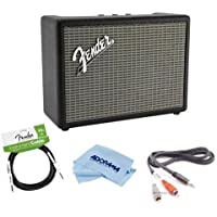 Fender 120W Monterey Bluetooth Speaker, Single - Bundle With 10ft Stereo 3.5mm Phone Two RCA Male Y-Cable, Fender Performance Series 10 Instrument Cable, Microfiber Cloth