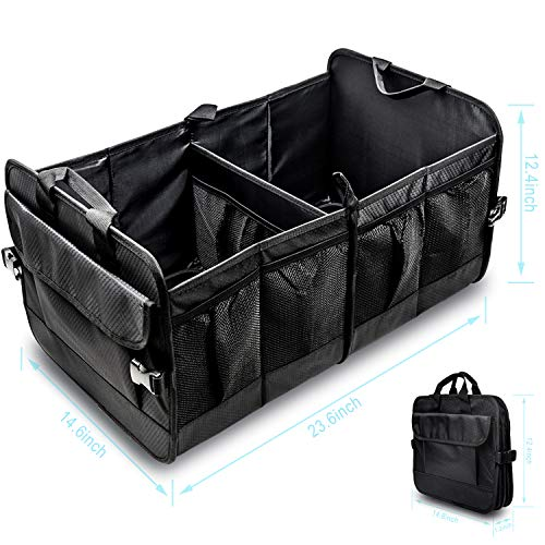 TESIN Car Trunk Organizer Storage Durable Collapsible SUV Cargo Organizer for Auto Accessories in Bed Interior, Collapsible Vehicle Caddy Large Box Tote for Grocery, Tools or Boots (Trunk Organizer)