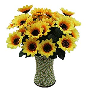 Fake Sunflowers Silk Artificial Flowers Table Centerpieces Arrangements Home Indoor (Yellow) 68
