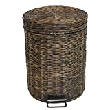 CSQ Rattan Trash Can, Living Room Vintage Trash Can Large Foot Type Antique Trash Can Small WC Household Office Paper Basket 5-12L (Size : 5L)