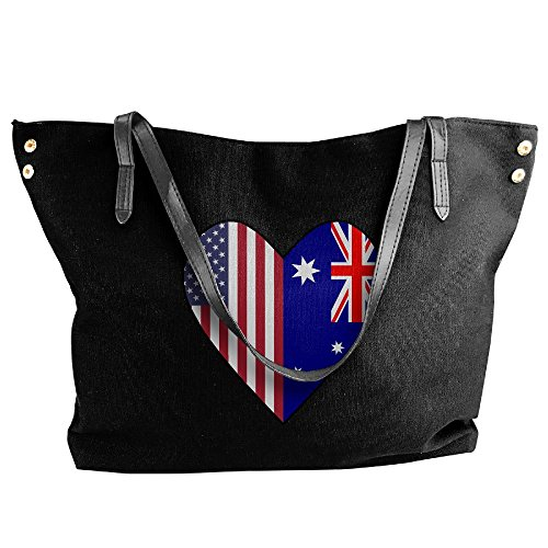 Shoulder Tote Flag Handbag Flag Australia Large Half Half Women's Handbags Heart Love Black Canvas USA CZwEqtCF
