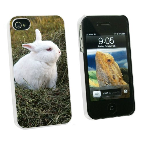 Graphics and More Bunny Rabbit White - Easter - Snap On Hard Protective Case for Apple iPhone 4 4S - White - Carrying Case - Non-Retail Packaging - White