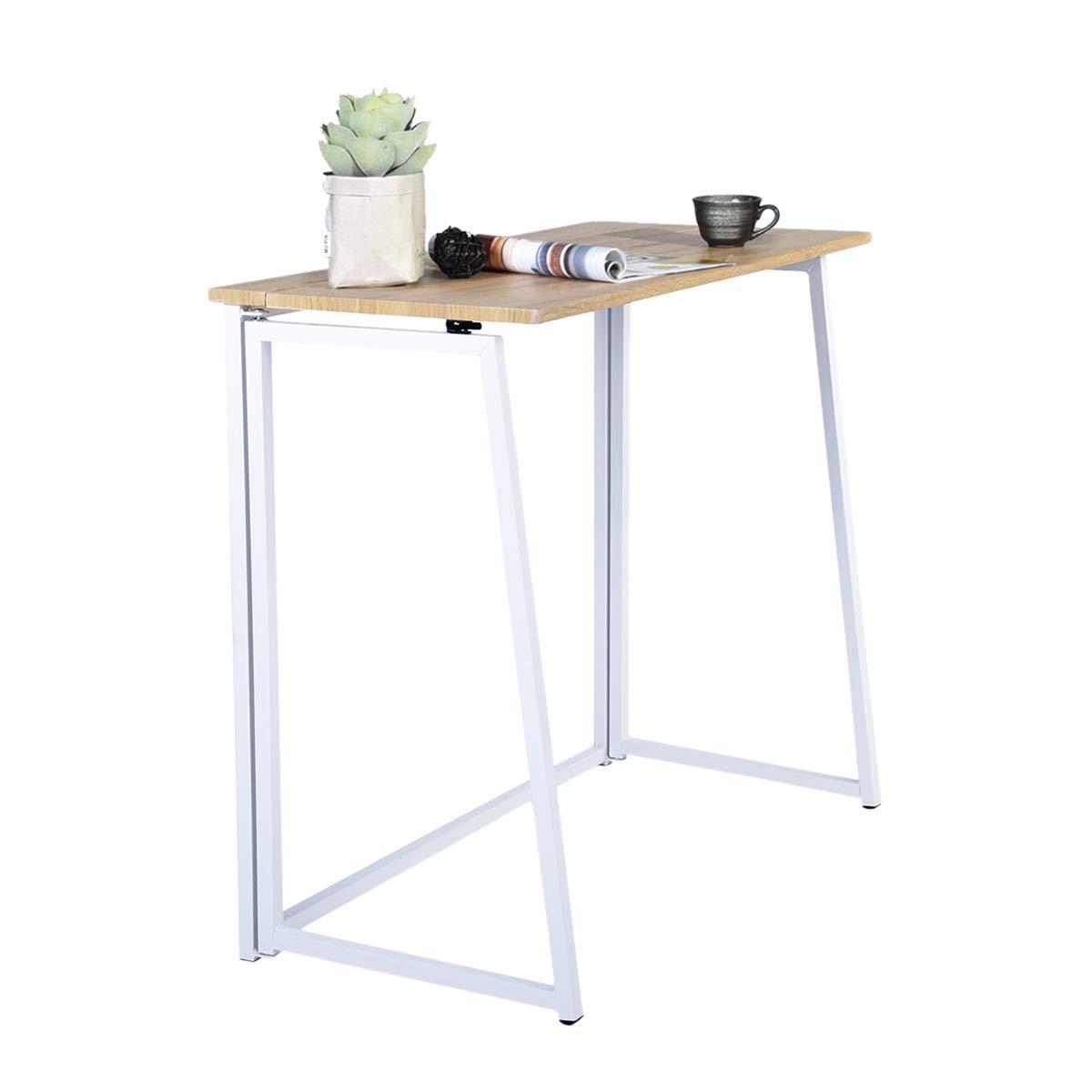 FURNITURE-R France Folding Computer Desk Laptop Desktop Table Compact Size  50 * 50 * 50cm White