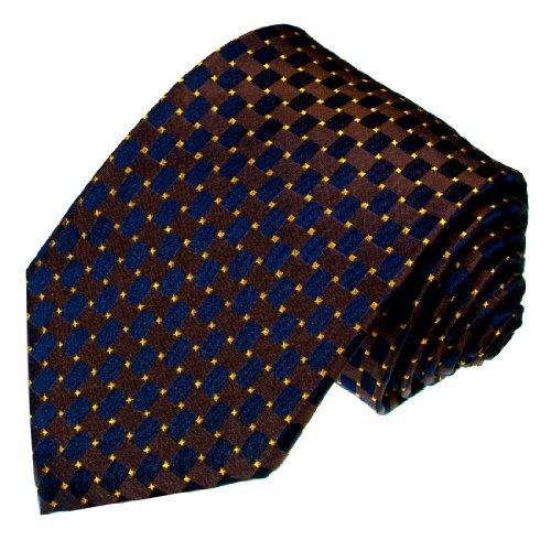 LORENZO CANA - Italian 100% Silk Woven Necktie Checkered Blue Navy Brown - 12029