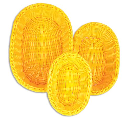 Hand Woven Oval Basket (Colorbasket 51301-207 Hand Woven Waterproof Oval Basket, Sunshine Yellow, Gift Box, Set of 3)