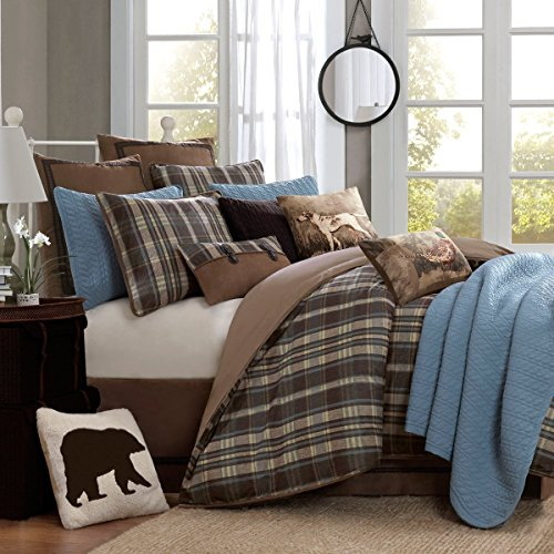 4pc Brown Beige Madras Plaid Theme Comforter Queen Set, Lumberjack Checkered Pattern, Classic Country, Southwest Tartan Check Log Cottage, Lodge Cabin Hunting Themed, Cozy (Cottage Plaid Bedskirt)