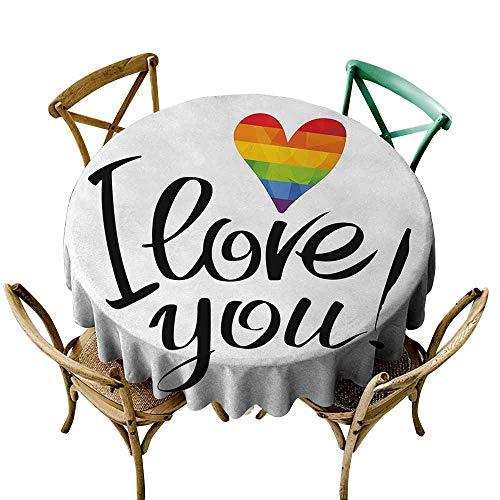 Zmlove Pride Wrinkle Resistant Tablecloth I Love You Letters with Polygonal Effect Rainbow Color Valentines Gay Couples Print and Durable Multicolor (Round - 55