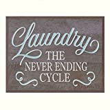Laundry room wall art decor Print decoration home decor wall plaque sign for bathroom with quote by DaySpring Milestones (Never Ending Cycle 12x15, Barnwood)