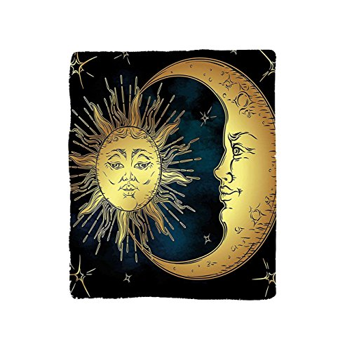 VROSELV Custom Blanket Psychedelic Sacred Moon and Sun in Antique Style Lunar Myth Astrology Zen Art Print Bedroom Living Room Dorm Petrol Blue Yellow