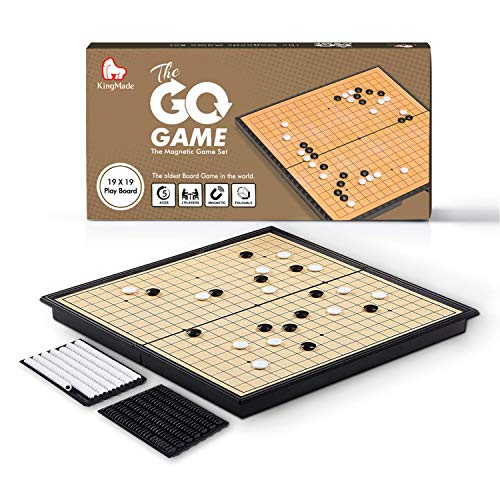 KingMade Magnetic Go Board Game Set with Magnetic Plastic Stones and Go Board - Weiqi Portable Board Game, 11 x 11 Inches
