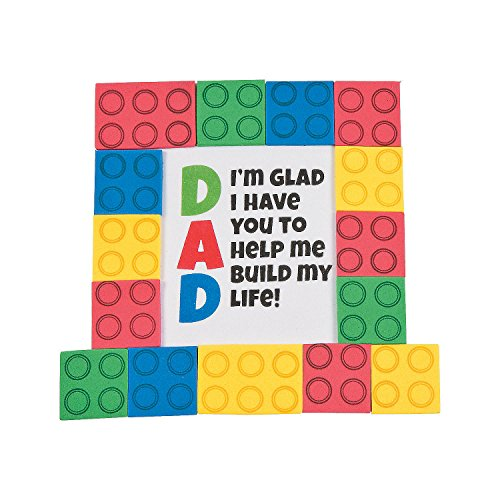 Fun Express - Dad Brick Tabletop with Easel CK-12 for Father's Day - Craft Kits - Party Craft Kits - Toys - Father's Day - 12 Pieces