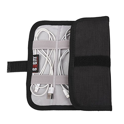 Electronics Accessories Organizer Bag, Portable Roll Up Electronics Case Travel Gear Organizer Small Gadget Carrying Case for USB Cables, Chargers, Earphone, SD Memory Cards, USB Flash Driver - Black