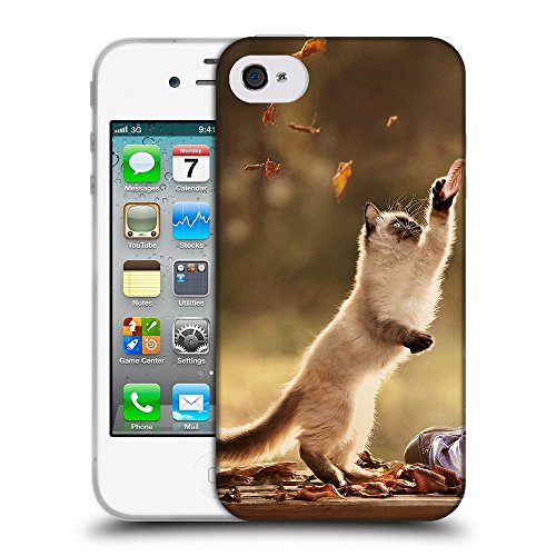 Just Phone Cases Coque de Protection TPU Silicone Case pour // V00004220 chaton attraper la chute des feuilles // Apple iPhone 4 4S 4G