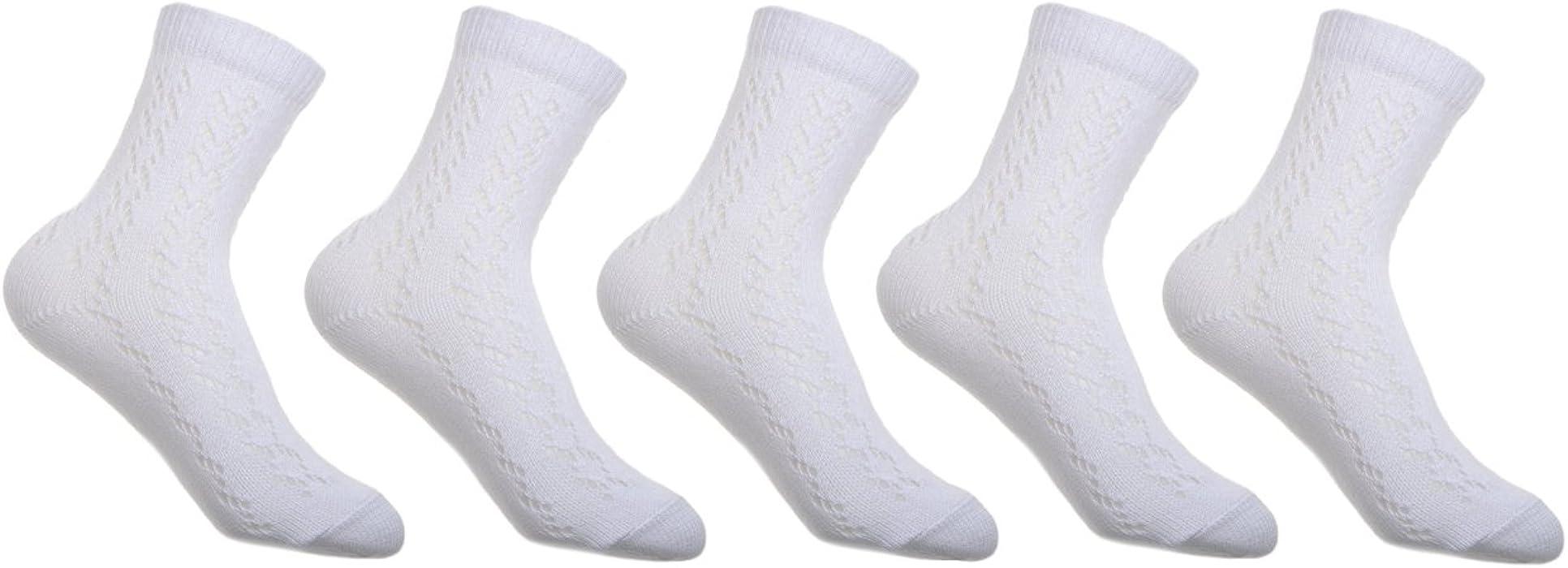 Girls white ankle length socks 6 pairs ideal for school pelerine design UK made