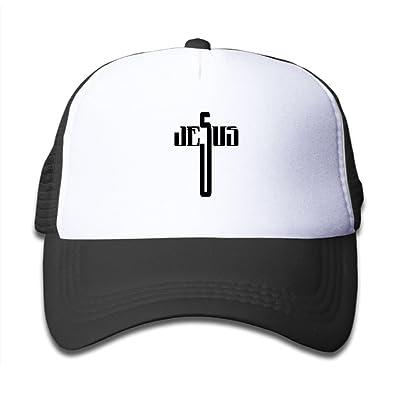 CAPS LKKL Christian Jesus Cross Children Girl Adjustable Mesh Fitted Cap Breathable Mesh Hats