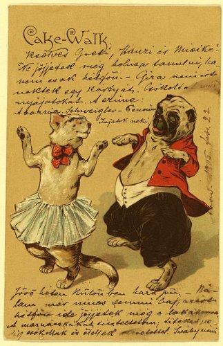 HistoricalFindings Photo: Cake walk,Postcard,Cat,dog,dressed as -