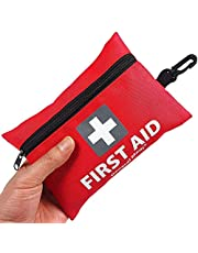 Mini First Aid Kit, 92 Pieces Small First Aid Kit - Includes Emergency Foil Blanket, CPR Respirator, Scissors for Travel, Home, Office, Vehicle, Camping, Workplace & Outdoor (Red)