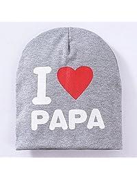 MAXGOODS Unisex Cotton Beanie Hat for Baby Boy/Girl Soft Toddler Infant Cap (PAPA, Grey)