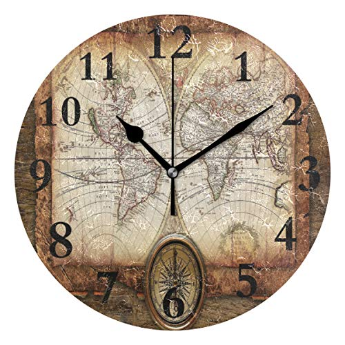 DERTYV Antique Map Compass Non Ticking Silent Rhombus Wall Clock Decorative,Battery Operated Analog Quiet Round Wall Clock for Living Room, Kitchen, Bedroom