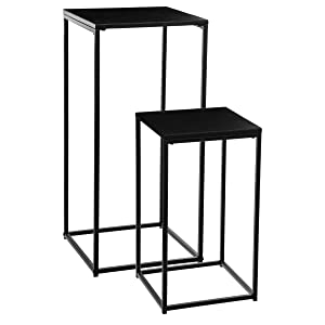 Atmosphera Lot de 2 sellettes Tables d'appoint en métal - Style Industriel - Coloris Noir