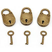 SCASTOE Old Vintage Antique Style Mini Archaize Padlocks Key Lock With key (Lot Of 3)