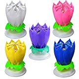 5PCS Set Romantic Music Birthday Candle Two Layers with 14 Small Candles Musical Lotus Rotating Happy Birthday Flower Candle (White,Yellow,Purple,Pink,Blue)
