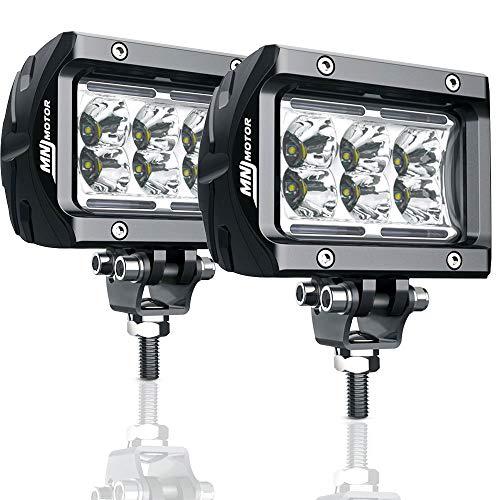 MNJ Motor LED Light Bar 2Pcs LED Work Lights 4 Inch 18W Flood Beam Off Road LED Fog Lights for Trucks UTV SUV Jeep Cars Boats 1800LM Super Bright ()