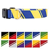 Buttonsmith Blue & Yellow Dog Collar - Fadeproof Permanently Bonded Printing, Military Grade Rustproof Buckle, Resistant to Odors & Mildew, Choice of 5 Sizes, Made in The USA