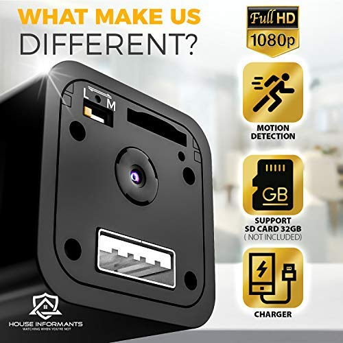 Hidden Spy Camera | 2 Pack | 1080P Full HD | Loop Recording | Flash Transfer Stick | For Protection and Surveillance of Your Home and Office