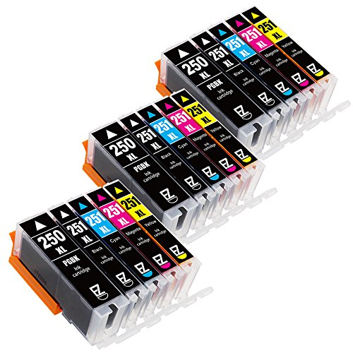 E-Z Ink (TM) Compatible Ink Cartridge Replacement for Canon PGI-250XL PGI 250 XL CLI-251XL CLI 251 XL (3 Large Black, 3 Cyan, 3 Magenta, 3 Yellow, 3 Small Black) for Canon PIXMA MX922 MG5520 MG7520 (Canon Printer Ink)