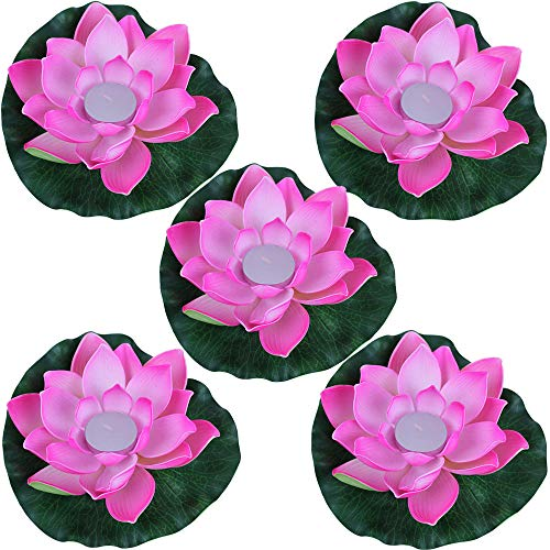 Just Artifacts 5pc Foam Lotus Floating Water Flower Candle (Color: Rose Pink)