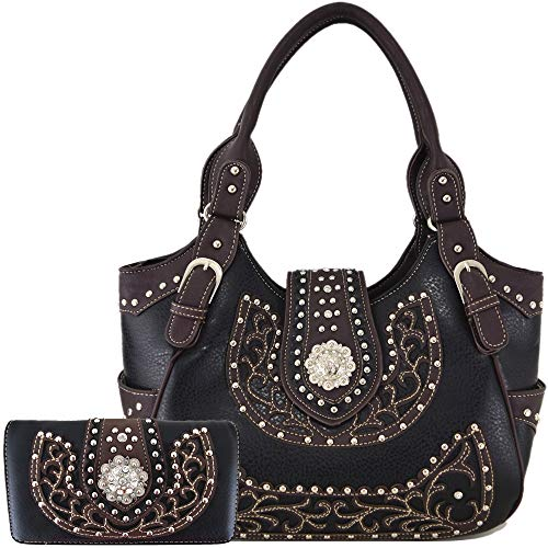 Western Style Rhinestone Concho West Concealed Carry Purse Country Handbag Women Shoulder Bag Wallet Set (#2 Black Set)