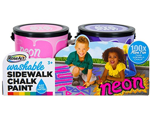 Rose Art Washable Sidewalk Chalk Paint 2ct Neon, Pink/Purple (Best Paint For Sidewalks)