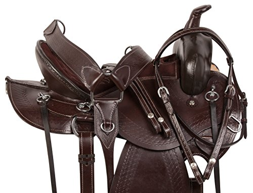 AceRugs 15 16 17 18 MULE BARS BROWN HAND CARVED PREMIUM LEATHER WESTERN PLEASURE TRAIL ENDURANCE COMFY MULE HORSE SADDLE TACK BRIDLE REINS BREASTPLATE (15) (Saddle Trail Mule)