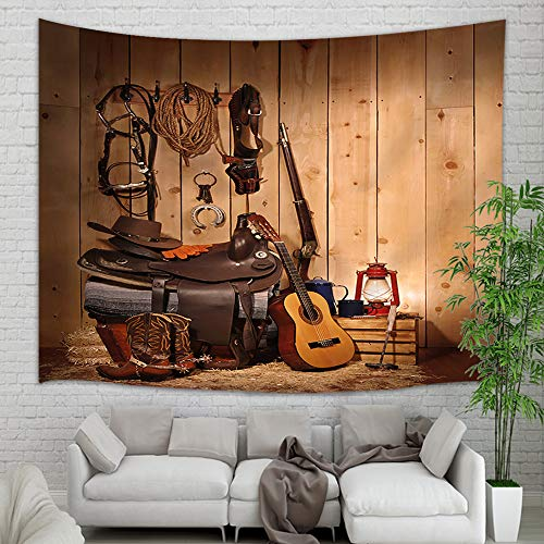 NYMB American Western Tapestry Wall Hanging, West Rodeo Cowboy Boots Hat and Guitar in Country Wooden House Wall Tapestry, Tapestry Blanket for Bedroom Living Room Dorm Home Bedspread, 71X60 in Brown ()