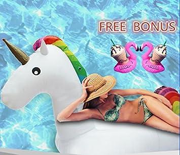 gross einhorn pool party schwimmt aufblasbare raft coutudi schwerlast floating lounge bett schwimmen fur 1 2 erwachsene und kinder mit 100kg