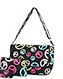 Cheap Belvah Quilted Peace Sign Messenger Bag – Choice of Colors (Black/Multi)