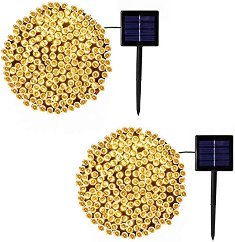 2-Pack Each 200LED 72FT Solar String Lights Outdoor Waterproof, Upgraded Green Wire Solar Christmas Lights Outdoor, 8 Modes Fairy Lights for Party Christmas Decorations Wedding Tree Warm White